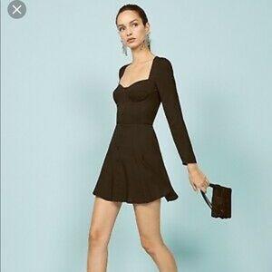 Reformation Black Button Dress